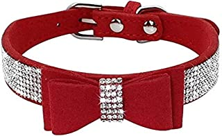 pfpeng Bling Rhinestones Dog Collars with Diamond Bow Tie Studded PU Leather - Beautiful Pet Appearance for Small Medium Large Pet