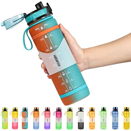 NEEKFOX Water Bottle, 34oz Gallon Water Bottles with Large Wide Mouth, Leakproof Anti-slip Durable BPA Free Tritan Water Jug, hydro jug with Removable Strainer for Fitness, Gym, Outdoor Sport
