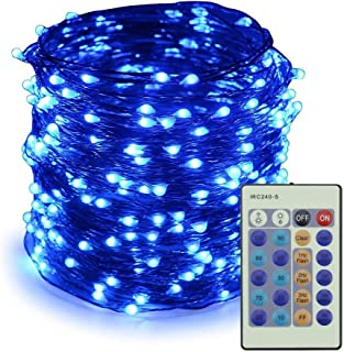 ER CHEN Dimmable LED String Lights,100Ft 300 LEDs Copper Wire Starry String Lights with Remote Control and Adapter for Seasonal Decorative Christmas Holiday, Wedding, Parties(Blue)