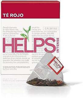 HELPS INFUSIONES - Té Rojo Pu Erh Y Té Verde Quema Grasas Con Hibisco, Fresas Y Kiwi. Té Alto En Teína. Caja De 10 Pirámides.