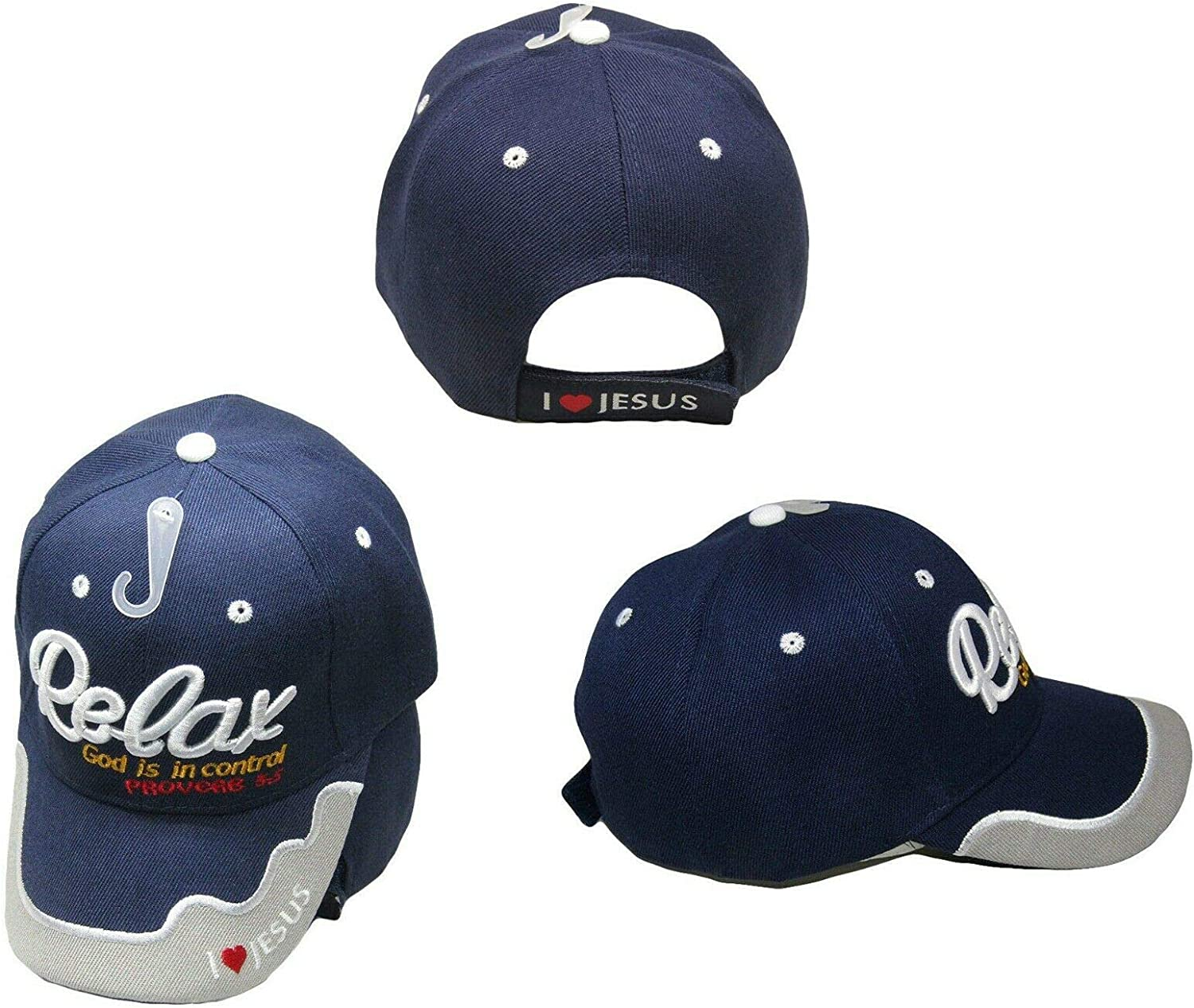 Trade Winds Relax God is in Control Christian Dark Blue Embroidered Cap Hat CAP815 (TOPW)