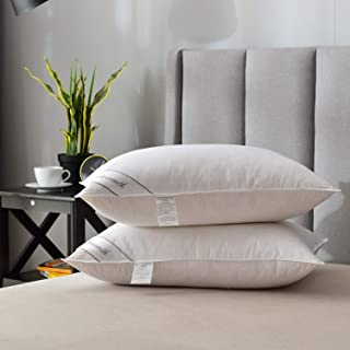 Natural Goose Down Feather Pillows for Sleeping ,Hotel Pillows for Side and Back Sleeper,100% Organic Cotton Cover Set of ...