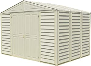 Duramax Woodbridge 10.5 Ft. x 8 Ft. Vinyl Outdoor Storage Shed, Garden Tool Sheds | Made of Fire Retardant PVC Resin, All-Weather, Waterproof Outdoor Solution, Store Bikes, Tools, BBQ, Home Gym
