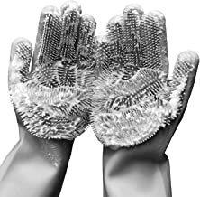 PELLUM Set of 2 Pairs 100% Silicone Gloves with Wash Scrubber, Reusable Brush Heat Resistant Kitchen Tool, Cleaning Glove...
