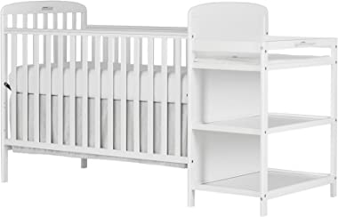 Dream On Me, Anna 4-in-1 Full Size Crib and Changing Table Combo, White