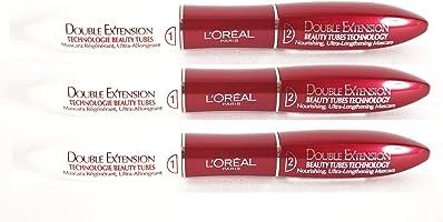 3 x L'Oreal Paris Double Extension Beauty Tubes Technology Black Mascara New