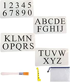 4 PCS Cake Alphabet Number Stencils, 2 Inches Times New Roman for Cake Art Crafts Painting with Art Brush/Storage Bag/Ruler, 6.3 x 11.6 inch