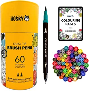 Dual Brush Pens - 60 Brush Tip Markers & Fineliner Pens in One. Colouring, Lettering, Journal, Calligraphy, Highlighter, D...