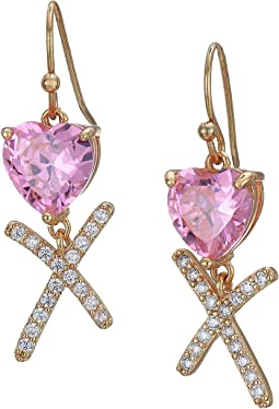 CZ Heart Drop Earrings