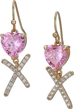 CZ Heart Drop Earrings