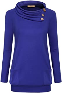 Miusey Womens Raglan Long Sleeve Cowl Neck Pullover Casual Tunic Sweatshirts with Pockets