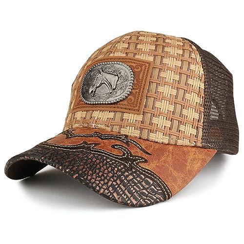ba70fe5fb74f45 Trendy Apparel Shop Straw Design Metallic Horse Logo Badge Trucker Mesh Adjustable  Baseball Cap