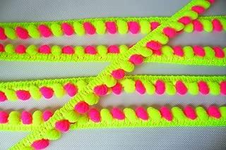 Neon Lime Green Hot Pink Mini Pompom Mix Colors Fringe Lace Dangling Trim Braid Tape Fluff Bobble Ball Ruffle 6 Yards