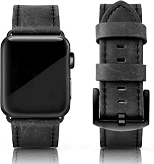 SWEES Leather Bands Compatible for iWatch 42mm 44mm, Genuine Leather Vintage Design Strap Compatible iWatch Series 4 Series 3 Series 2 Series 1, Sports & Edition Men, Retro Iron