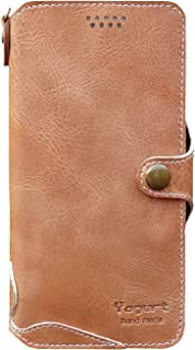 Yogurt for iPhone 8 Plus/ 7 Plus / 5.5 Inch Genuine Leather Wallet Cases Cover Handmade Brown