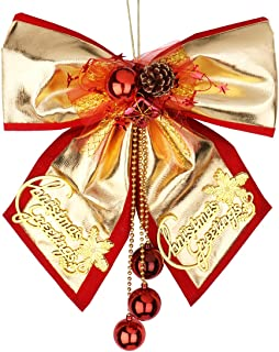 """Azude Large Gold Christmas Bow Hanging Ornaments, 14"""" x 13"""""""