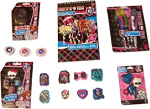 Monster High Activity Gift Set ~ Brainy Chicks Rule (Stickerland Fun Pad, Clawesome Pens with Rope, Eraser 8 Pack, Eye Shadow, Healing Heart Eraser Set, Nail Polish Kit, Lip Kit; 7 Items, 1 Bundle)