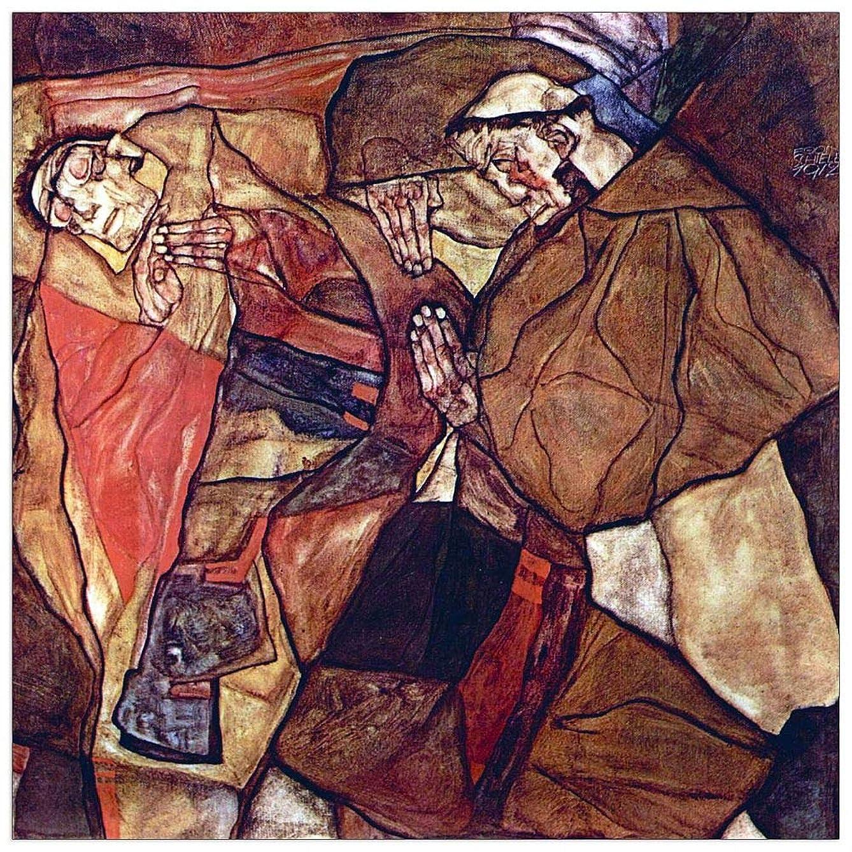 ArtPlaza TW91430 Schiele Egon - Agony (The Death Struggle) Decorative Panel 31.5x31.5 Inch Multicolored