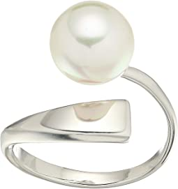 Round Pearl Sterling Silver Wave Ring