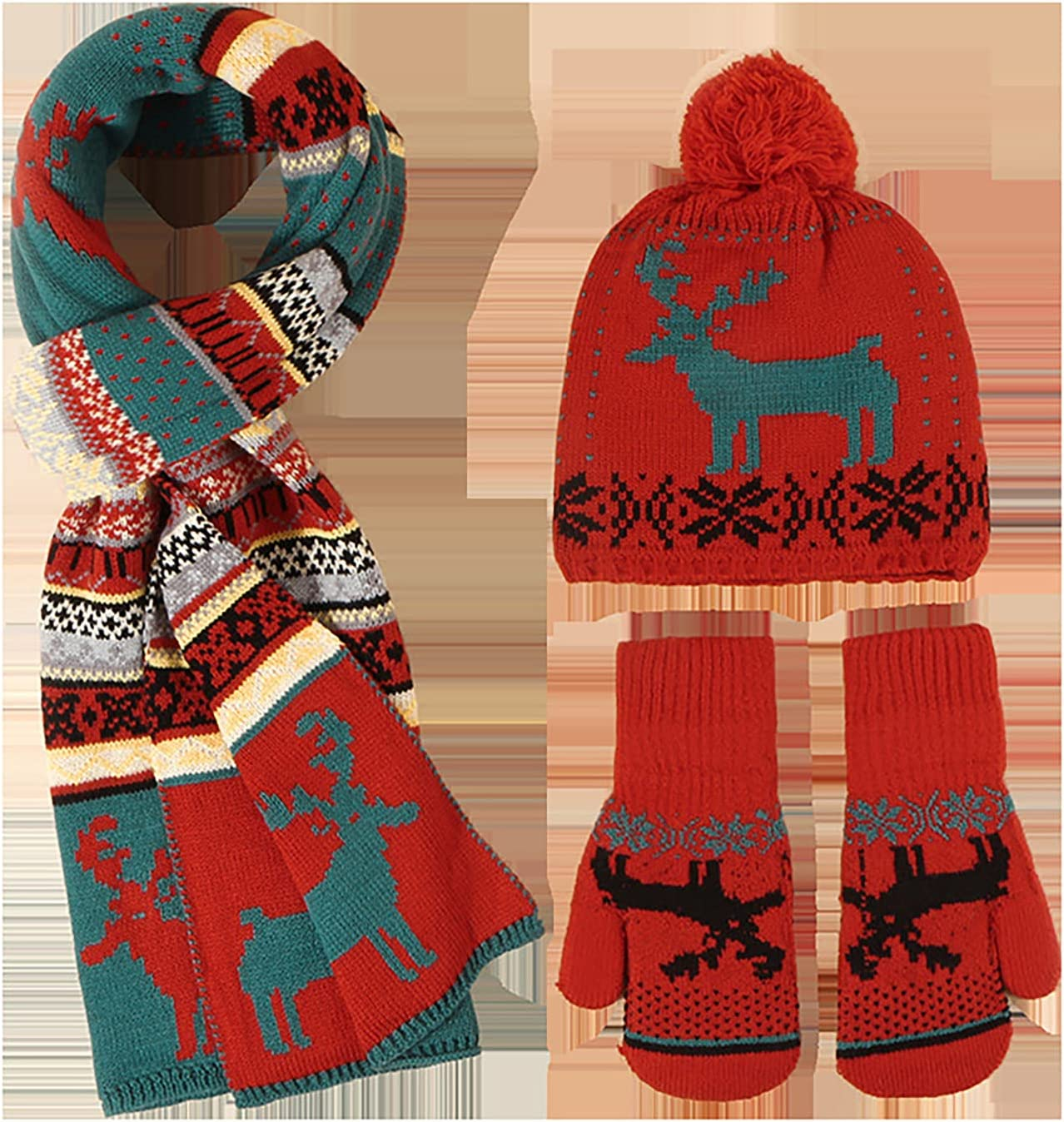 Camidy 3pcs Winter Knit Hat Scarf Gloves Set for Women, Christmas Elk Pattern Knitted Mitten Scarf Ear Protection Cap Womens Winter Warmer Set