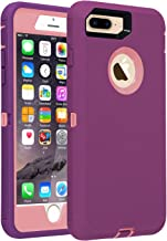 Co-Goldguard Phone Case for iPhone 7 Plus / 8 Plus Heavy Duty Armor 3 in 1 Built-in Screen Protector Rugged Cover Shockproof Drop-Proof Scratch-Resistant Shell Compatible with iPhone 7+/8+,Purple&Pink