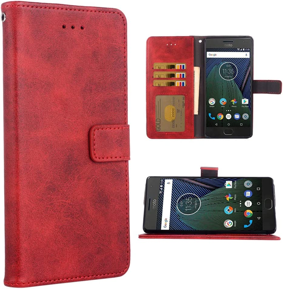 Phone Cover for Moto G5 Plus Folio Flip Wallet Case,PU Leather Credit Card Holder Slots Full Body Protection Kickstand Protective Phone Cover for Motorola MotoG5 5th Gen G5+ XT1687 G5plus Red