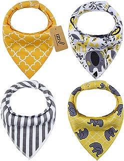 iZiv Baberos del Bebé - Paquete de 4 Diseños Pañuelo con Snaps Ajustables, TPU Impermeable Guarnición para niño 0-2 años (Color-4)