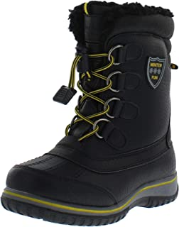 Weatherproof Kids Sleigh Waterproof Insulated Snow Boot for Boys and Girls, Black/Yellow, 4 M US