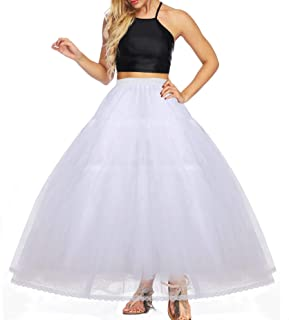 YULUOSHA Women's 4/8 Layers Ball Gowns Hoopless Floor Length Crinoline Petticoat Underskirt Slips Skirts for Wedding Dress