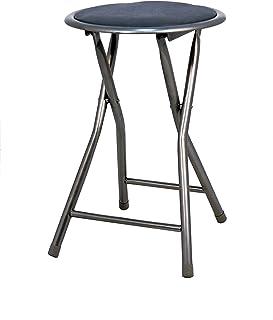 La Silla Española Palma Taburete Plegable Acolchado, Aluminio, Negro, 30x30x45 cm