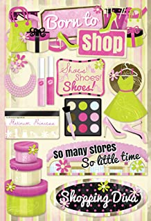 Karen Foster Design Acid and Lignin Free Scrapbooking Sticker Sheet, Born to Shop