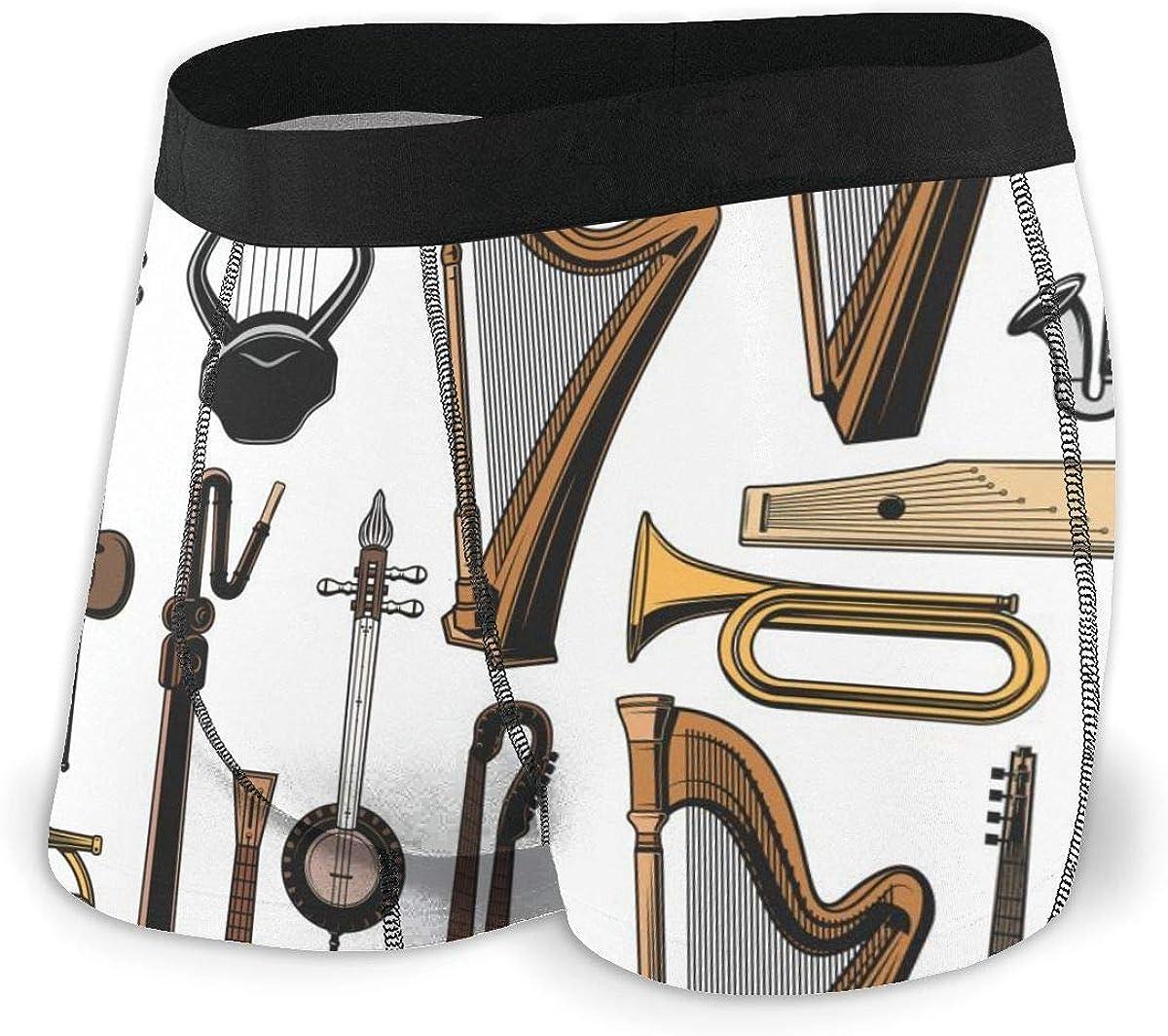 Randolph Wordsworth Mens Boxer Briefs Musical Vector Tuba Breathable Underwear