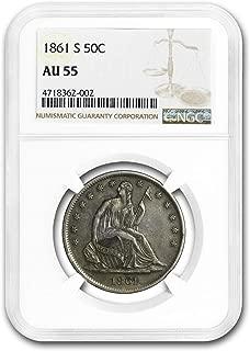 1861 S Liberty Seated Half Dollar AU-55 NGC Half Dollar AU-55 NGC