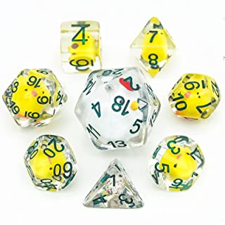 cusdie 7-Die DND Dice, Polyhedral Dice Set Filled with Duck, for Role Playing Game Dungeons and Dragons D&D Dice MTG Pathf...