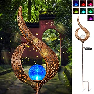 SUNWIND Solar Stake Lights Outdoor Crackle Glass Globe Stake Metal Lights Color Changing for Garden Pathway Outdoor Decoration (Metal)