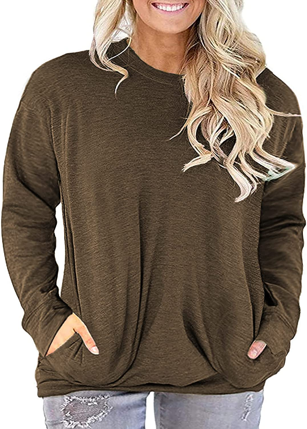 LANREMON Womens Plus Size Tops Long Sleeve Shirts Casual Round Neck Tunic Tops with Pockets
