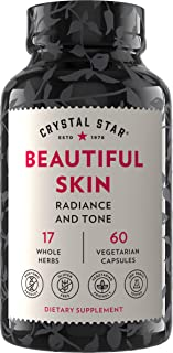 Crystal Star Beautiful Skin Supplement (60 Capsules) - Herbal Skincare Supplement for Natural Plant-based Collagen and Dai...