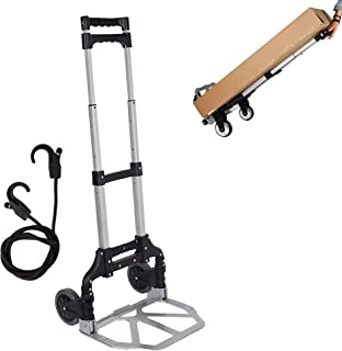 LUCKYERMORE Folding Hand Truck Dolly Aluminum Lightweight Compact Utility Cart with 2 Wheels Trolley Capacity 170 lbs, Black