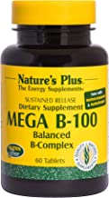 NaturesPlus Mega B100 Complex, Sustained Release - 60 Vegetarian Tablets - High Potency B Complex Vitamin Supplement, Energy & Brain Booster, Stress Reliever - Gluten-Free - 60 Servings