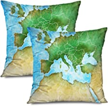 Ahawoso Set of 2 Throw Pillow Covers Square 20x20 Handdrawn Map Mediterranean Germany Europe Africa Middle Nature Education Iraq Morocco Watercolor Zippered Pillowcases Home Decor Cushion Cases