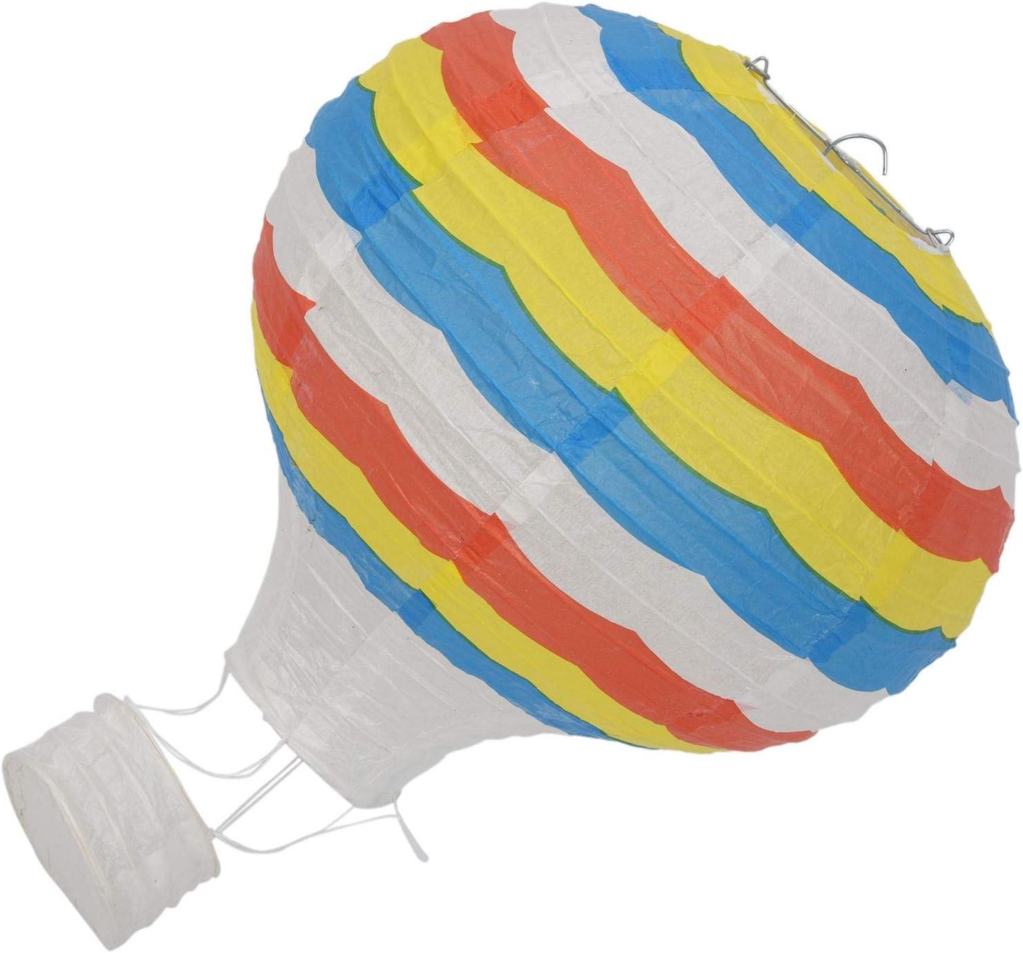 Vaorwne 12inch Hot Air Balloon Paper Lantern Lampshade Ceiling Light Wedding Party Decor Blue Rainbow