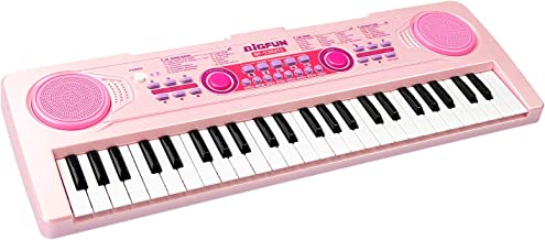 aPerfectLife Chargable Kids Keyboard Piano, 49 Keys Multi-Function Electronic Kids Piano Keyboard Educational Toy Organ for Beginners and Kids with Charging Function (Pink)