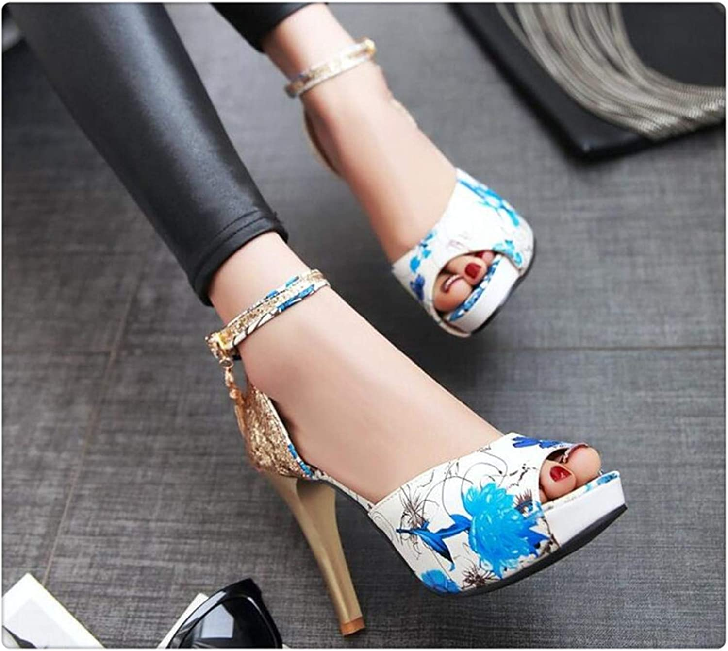 Sexy Prints Sandals Women Fish Mouths high Heels Summer Women's shoes Plus Size