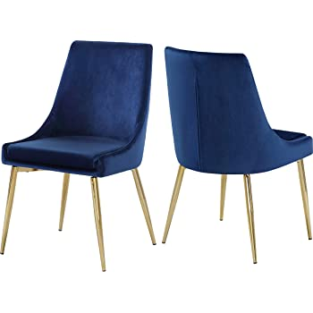 Amazon Com Meridian Furniture Karina Collection Modern Contemporary Velvet Upholstered Dining Chair With Sturdy Metal Legs Set Of 2 19 5 W X 21 5 D X 33 5 H Navy Chairs