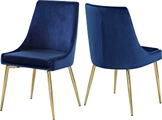 Meridian Furniture Karina Collection Navy Modern | Contemporary Velvet Upholstered Dining Chair with Polished Gold Metal Legs, Set of 2, 19.5