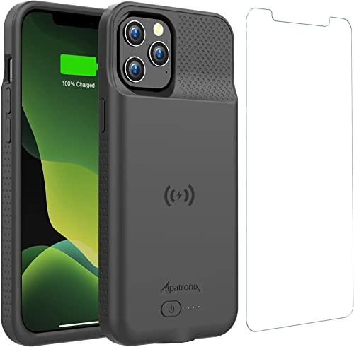 Battery Case for iPhone 12 Pro Max, 6000mAh Slim Portable Protective Extended Charger Cover with Wireless Charging Co...