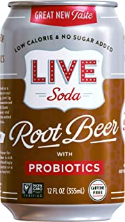 Sponsored Ad - LIVE All Natural Root Beer with Probiotics, Low Calorie and No Added Sugar, Pack of 24