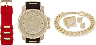 Iced Out Watch + Interchangeable Band + Cuban Bracelet + Iced Out Earrings & Ring [Gift Set]