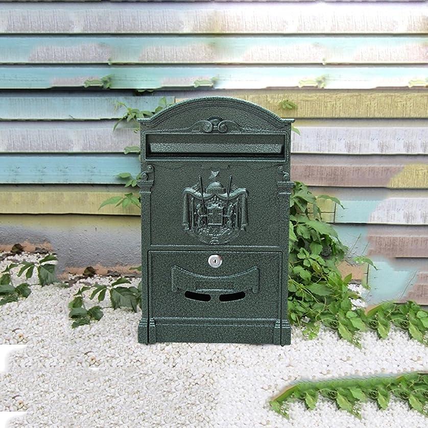指裁判所へこみHZBc ヨーロッパスタイルのヴィラ、レターボックス、屋外防水壁吊りメールボックス、庭のレトロメールボックス、壁掛け装飾、黒っぽい緑