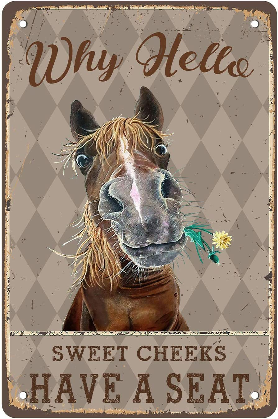 Crapopo Sweet Cheeks Horse Wall Decor,Hello Decorative Tin Sign Funny,Cheeky Horse Retro Poster Paintings Cute Hello Horse Decoration Home Bedroom Livingroom Bathroom Decor Picture,8x12inch